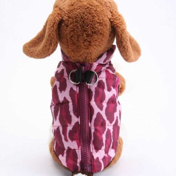 Fushia Leopard Print Padded Jacket Outfit Puppy Vest - Woof Apparel