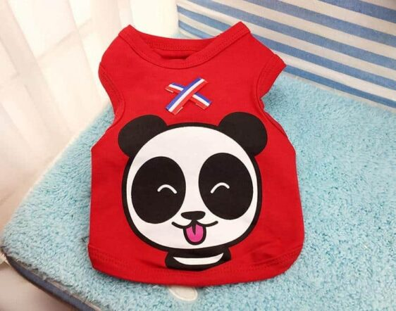 Cute Happy Panda Red Summer Clothes Small Dog Shirt - Woof Apparel