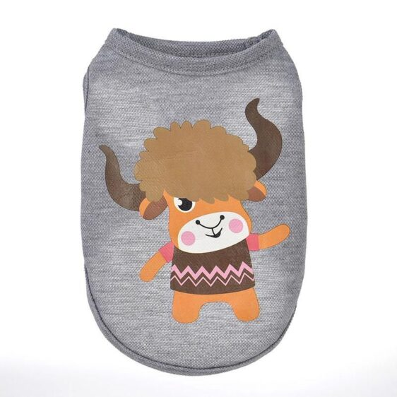 Hairy Waving Bull Design Gray Spring Small Tank Top - Woof Apparel