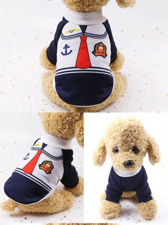 Cute Little Sailor Warm Winter Outfit Small Dog Sweater - Woof Apparel