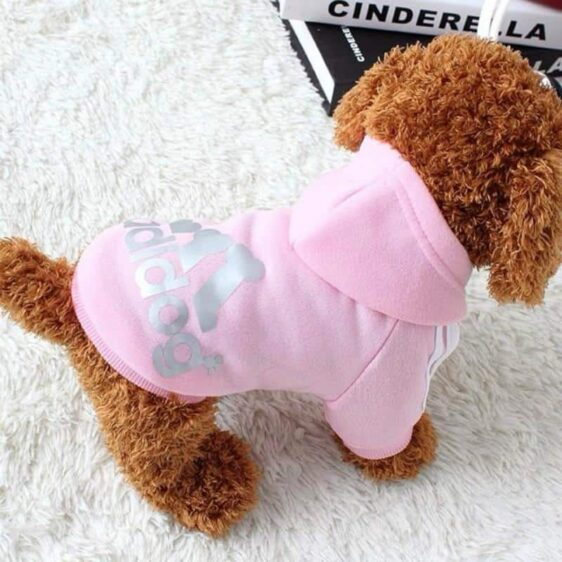 Sporty Dog Print Jacket Soft Winter Small Dog Hoodie