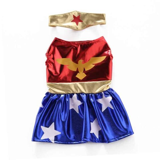 Wonder Woman Superhero with Headband Tiara Metallic Costume for Dog - Woof Apparel