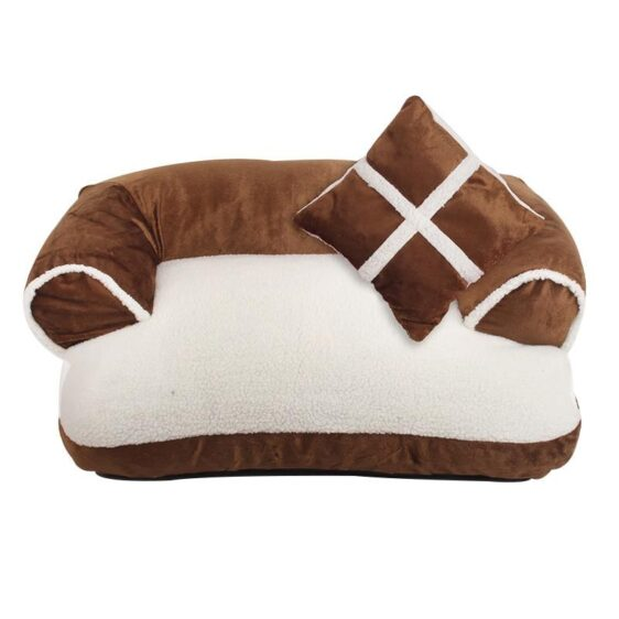 Luxury Soft Fleece Sofa Bed With Pillow Cozy Dog Bed - Woof Apparel