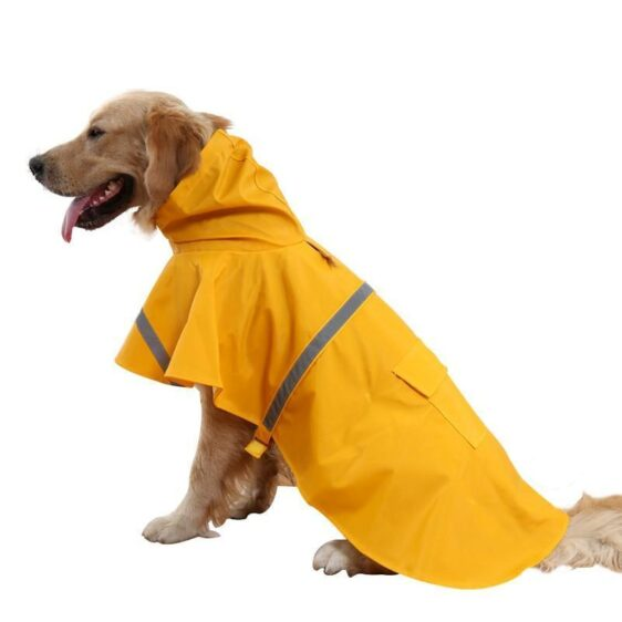 XS-3XL Bright Colors Reflective Stripe Raincoat For Dogs - Woof Apparel