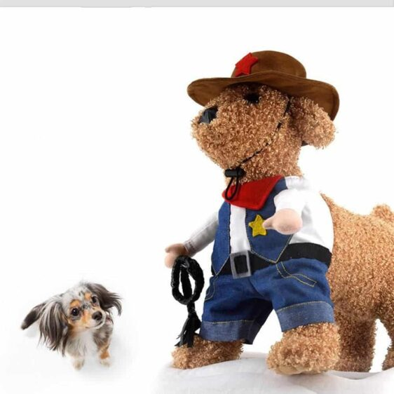Cute Cowboy Jeans Costume Blue Jumpsuit With Hat For Dog - Woof Apparel