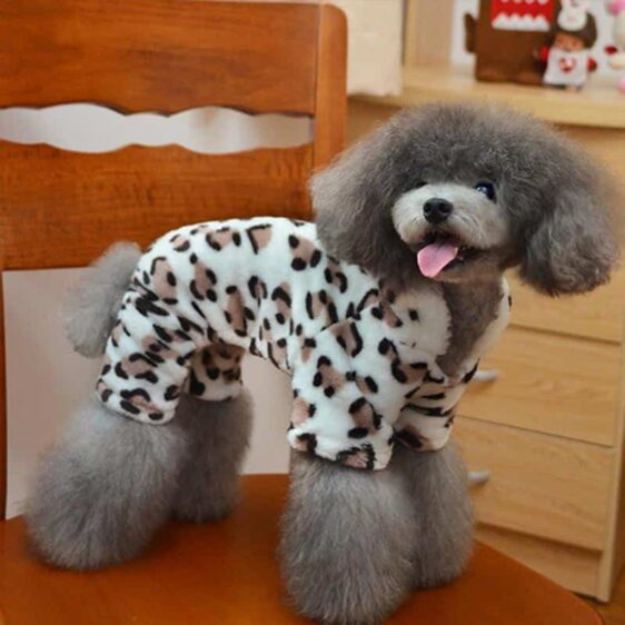 Soft Comfortable Leopard Brown Printed Dog Jumpsuit - Woof Apparel