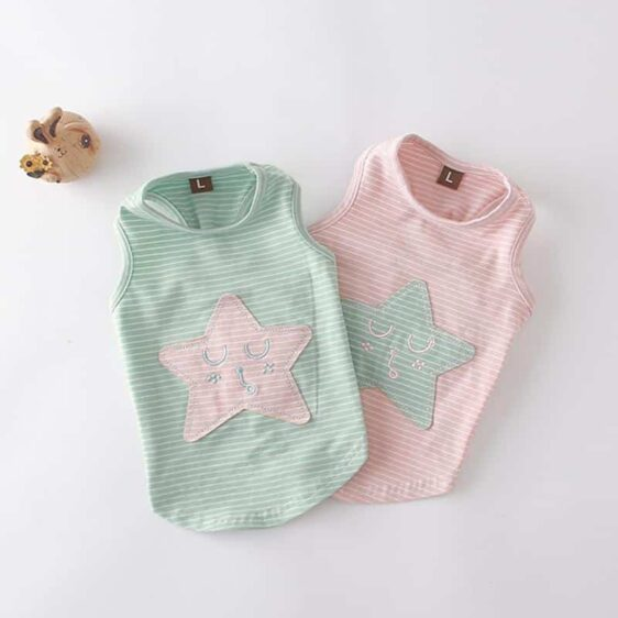 Adorable Sleeping Star Striped Summer Clothes Dog Shirt - Woof Apparel