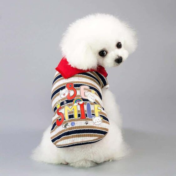 Stripe Be Smile Cat Head Design Spring Small Dog Shirt - Woof Apparel