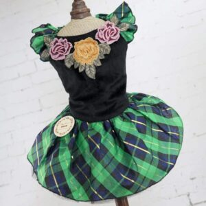 Lace Flower Embroid Checkered Skirt Small Dog Dress - Woof Apparel