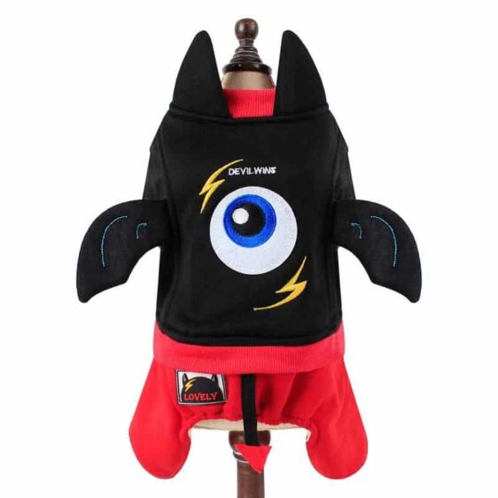 Cute Little Devil One Eye Jumpsuit Red Black Costume For Dog - Woof Apparel