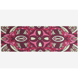 Voguish Blushing Crimson Pink Lotus Mandala Yoga Mat Suede Towel