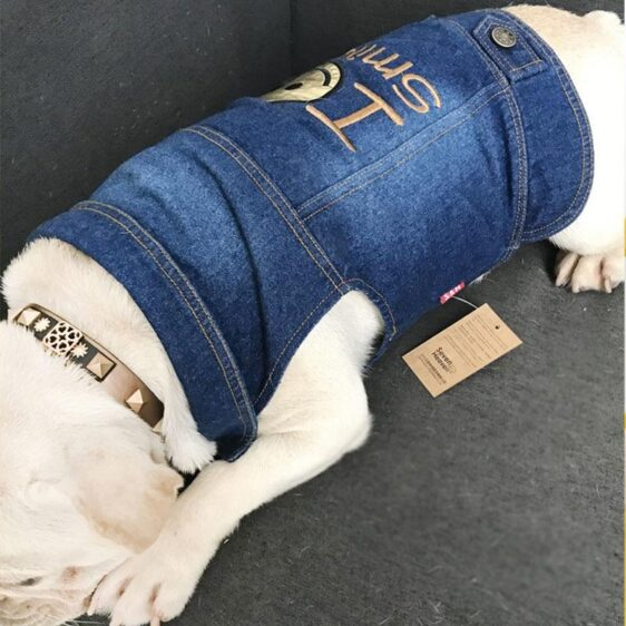 Adorable Jeans With Smiley Emoticon Small Dog Jacket - Woof Apparel