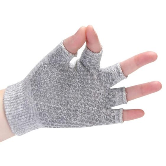 Adaptable Clouded Gray Yoga Wrist Support Gloves with Silica Gels - Yoga Gloves - Chakra Galaxy