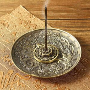 Alloy Bronze Censer Plate Dragon Phoenix Incense Burner Holder - Incense & Incense Burners - Chakra Galaxy