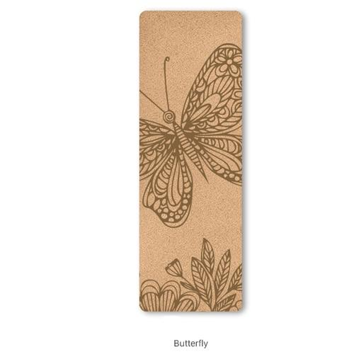 Attractive Butterfly Engraved Natural Cork Yoga Mat for Hot Yoga TPE - Yoga Mats - Chakra Galaxy
