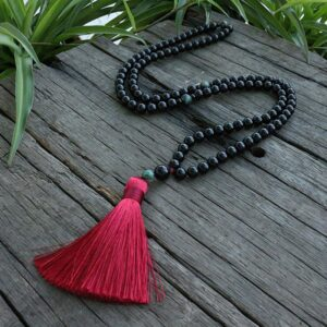 Black Onyx And Qinghai Jadeite Chakra Necklace 108 Japamala Beads - Chakra Necklace - Chakra Galaxy