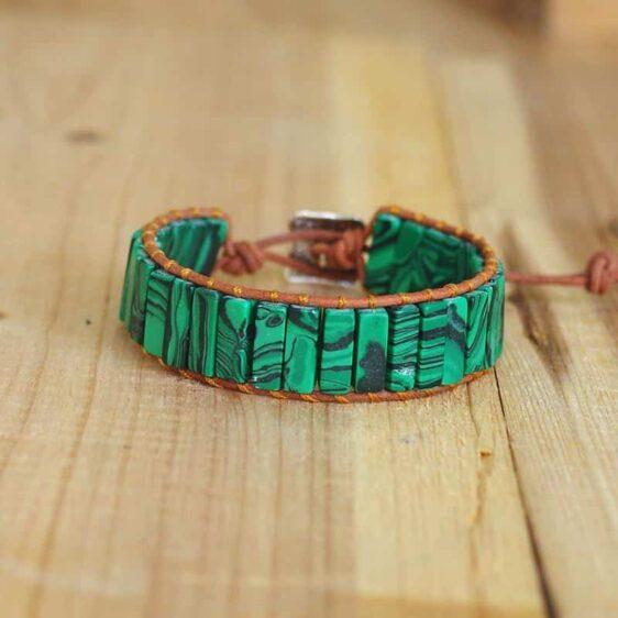 Boho Style Natural Stone Malachite Tube Beads Charm Chakra Bracelet - Charm Bracelets - Chakra Galaxy