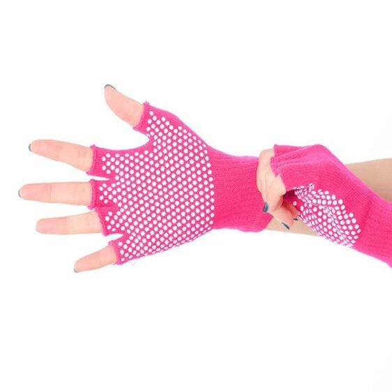 Charming Magenta Pink with White Silica Gels Cotton Yoga Gloves - Yoga Gloves - Chakra Galaxy
