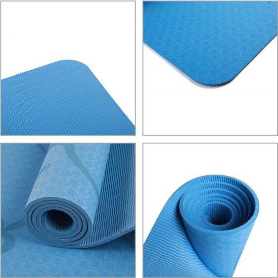 Cobalt Blue Fitness & Sports Yoga Mat with Position Line TPE - Yoga Mats - Chakra Galaxy
