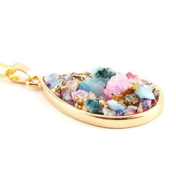 Colorful Pendulum Reiki Chakra Necklace Druzy Natural Crystals - Chakra Necklace - Chakra Galaxy