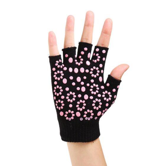 Dashing Jet Black with Fuchsia Pink Silica Gels Yoga Wrist Support Gloves - Yoga Gloves - Chakra Galaxy
