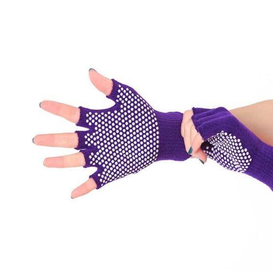 Dazzling Electric Purple with White Silica Gels Cotton Yoga Gloves - Yoga Gloves - Chakra Galaxy