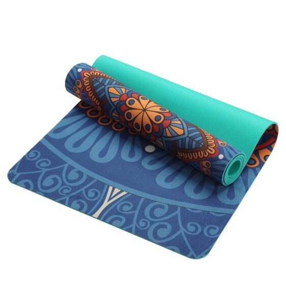 Fashionable Blue Flower Mandala Yoga Mat for Travel and Relaxation - Yoga Mats - Chakra Galaxy