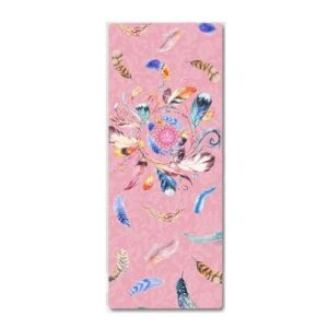Feather Printed Rose Pink Sustainable Yoga Mat for Ashtanga Yoga Suede + TPE - Yoga Mats - Chakra Galaxy