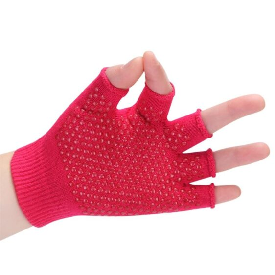 Flexible Cardinal Red Yoga Wrist Support Gloves with Silica Gels - Yoga Gloves - Chakra Galaxy