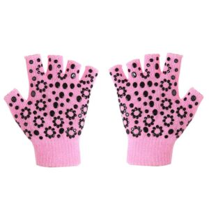 Fuchsia Pink with Jet Black Silica Gels Yoga Wrist Support Gloves - Yoga Gloves - Chakra Galaxy