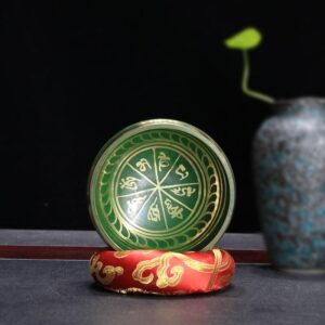 Hand Hammered Green Copper Tibetan Buddhist Chakra Singing Bowl - Singing Bowl - Chakra Galaxy