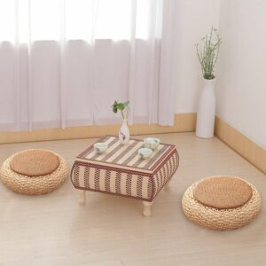 Handmade Thick Rattan & Pucao Weave Tatami Zafu Meditation Cushion - Meditation Seats & Cushions - Chakra Galaxy