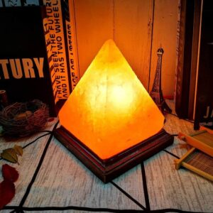 Himalayan Natural Crystal Pink Salt Pyramid Warm Light Lamp - Himalayan Salt Lamp - Chakra Galaxy