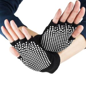Incomparable Pitch Black with White Silica Gels Cotton Yoga Gloves - Yoga Gloves - Chakra Galaxy