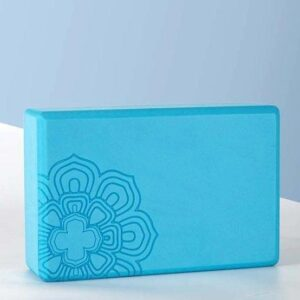Light Blue Lotus Mandala Yoga Brick + Free Yoga Strap 1 Pair - Yoga Props - Chakra Galaxy