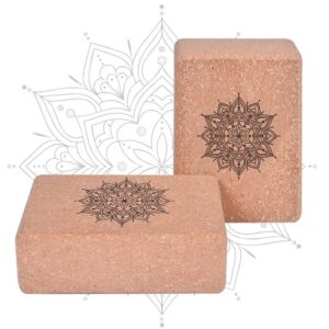 Lotus Mandala Eco-Friendly Cork Yoga Block for Pilates Workout - Yoga Props - Chakra Galaxy