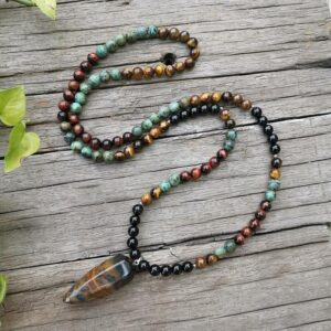 Natural African Turquoise & Tiger's Eye Stone Chakra Necklace 108 Mala Bead 8mm - Chakra Necklace - Chakra Galaxy