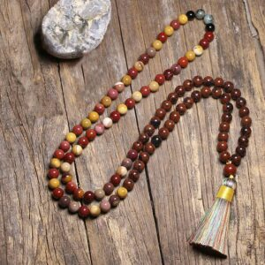 Natural Mahogany Obsidian and Mookaite Jasper Onyx 108 Mala Beads 8MM - Chakra Necklace - Chakra Galaxy