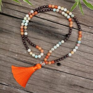 Natural Stone Garnet, Orange Onyx & Amazonite Japamala Beads Necklace - Chakra Necklace - Chakra Galaxy