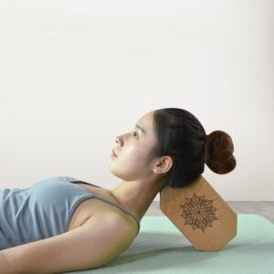 Octagon Lotus Mandala Natural Cork Yoga Workout Block for Beginner - Yoga Props - Chakra Galaxy
