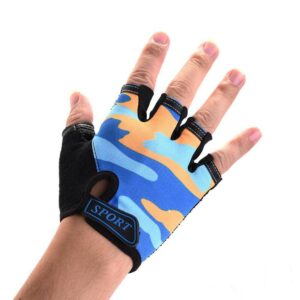 Orange & Blue Camouflage Slim Yoga Workout Gloves for Wrist Protection - Yoga Gloves - Chakra Galaxy