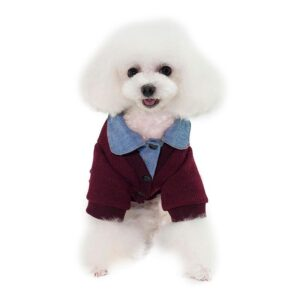 Cute Cardigan Over Collared Polo Winter Sweatshirt For Dogs - Woof Apparel