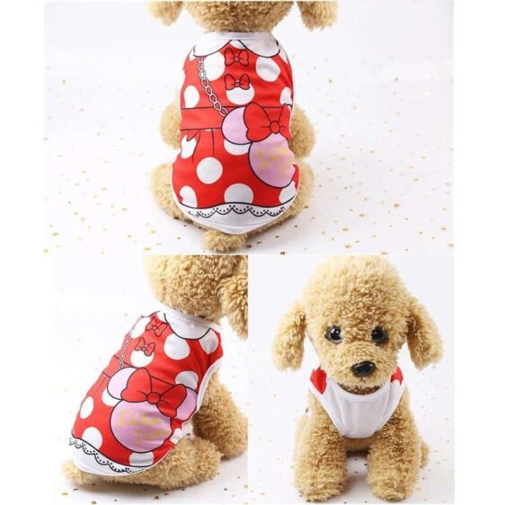 Cute Red Polka With Sling Bag Print Summer Puppy Shirt - Woof Apparel