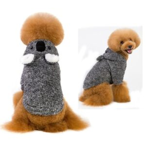 Cartoon Koala Winter Soft Hoodie Clothing For Small Dogs - Woof Apparel