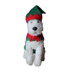 Adorable Christmas Elf With Hat Striped Pants Costume for Dogs - Woof Apparel