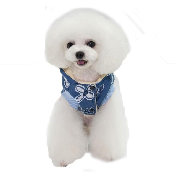 Cute Flower Print With Clip Hooded Winter Vest For Dogs - Woof Apparel