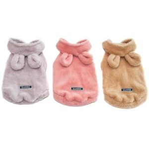 3 Colors Soft Fleece Dog  Winter Cartoon Bear with Ears Cute Jacket - Woof Apparel