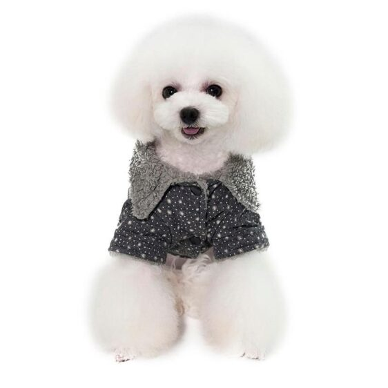 Soft Fleece Snowflake Print Winter Coat For Small Dogs - Woof Apparel