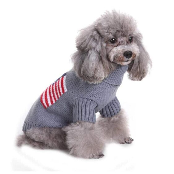 Gray Small Dog Winter Puppy Soft Warm Knitted Sweater - Woof Apparel