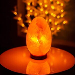 Purifying Himalayan Crystal Pink Salt Natural Egg Shape Lamp - Himalayan Salt Lamp - Chakra Galaxy